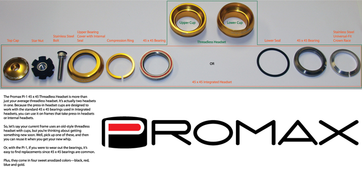 Promax PI-1 Alloy Sealed Bearing 1 Press in Headset Blue